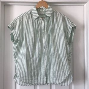 MADEWELL mint green stripe button up top